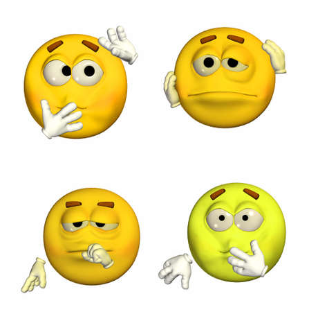 nausea: Illustration of a pack of four  4  emoticons   smileys with different poses and expressions isolated on a white background  Stock Photo