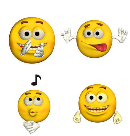 teasing: Illustration of a pack of four  4  emoticons   smileys with different poses and expressions isolated on a white background  Stock Photo