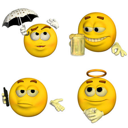 4 of a kind: Illustration of a pack of four  4  emoticons   smileys with different poses and expressions isolated on a white background  Stock Photo