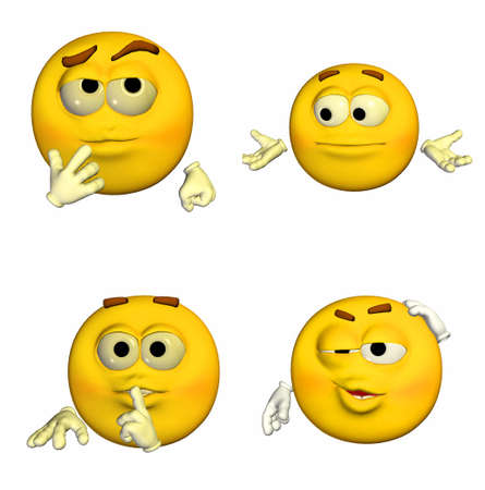 confidentiality: Illustration of a pack of four  4  emoticons   smileys with different poses and expressions isolated on a white background