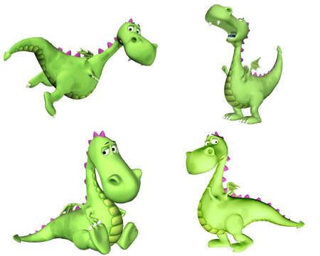 tired cartoon: Illustration of a pack of four  4  green dragons with different poses and expressions isolated on a white background - 2of3