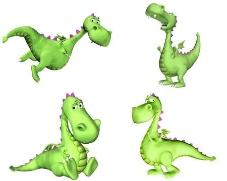 mosca caricatura: Ilustraci�n de un paquete de cuatro 4 dragones verdes con diferentes poses y expresiones aisladas sobre un fondo blanco - 2of3 Foto de archivo
