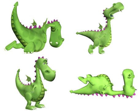 tired cartoon: Illustration of a pack of four  4  green dragons with different poses and expressions isolated on a white background - 3of3 Stock Photo