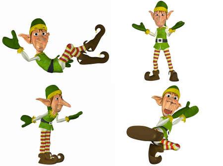 duendes de navidad: Ilustraci�n de un paquete de cuatro 4 elfos de Navidad con diferentes poses y expresiones aisladas sobre un fondo blanco - 1of2