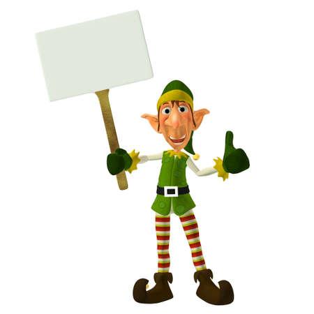 duendes de navidad: Ilustraci�n de un duende de la Navidad con un cartel aislado en un fondo blanco