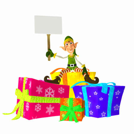 santa s elf: Illustration of a christmas elf sitting on presents holding a sign isolated on a white background