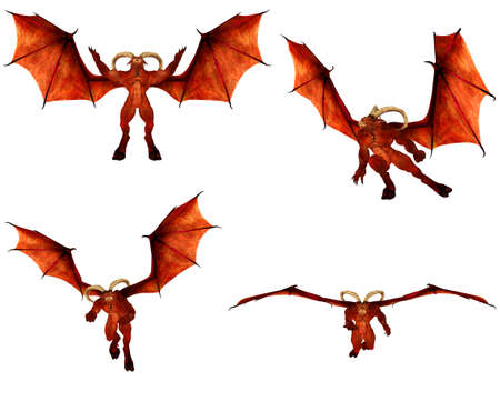 hellish: Illustration of a pack of four  4  red demons with different poses isolated on a white background