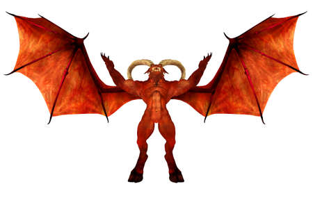 hellish: Illustration of a red demon isolated on a white background