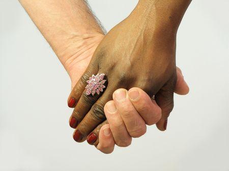simbolo uomo donna: Tenuta dei couple neri e bianchi other delle mani ogni Archivio Fotografico