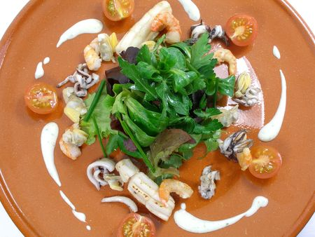 sea food: Sea food salad with wasabi sauce
