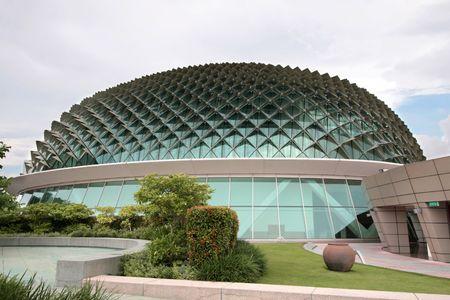 ultra: Wide angle shot of circular ultra modern architecture Stock Photo