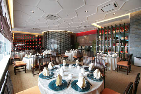 fine wood: Interior of an ultra modern fine dining Chinese cuisine restaurant