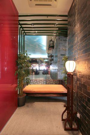 Interior of an ultra modern fine dining Chinese cuisine restaurant photo