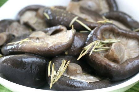 accompaniment: Lightly pan fried Chinese mushrooms with rosemary and olive oil
