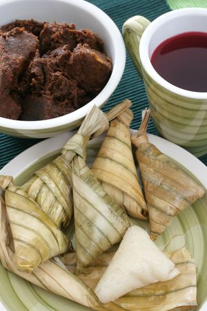 Traditional Malay compact glutinous rice called Ketupat for celebrations
