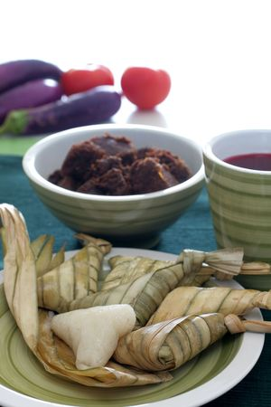 compressed rice: Traditional Malay compact glutinous rice called Ketupat for celebrations