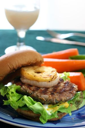 bred: Healthier homemade grilled burger with carrots and plenty vegetables