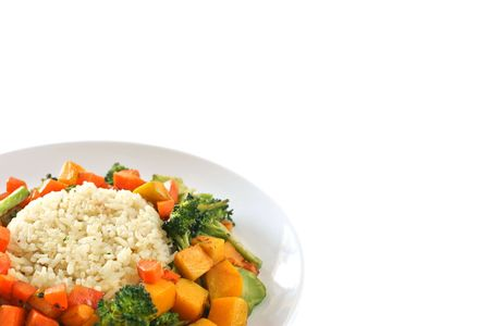 roughage: Garlic and ginger flavored rice surrounded by mixed vegetables