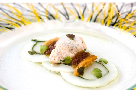 urchin: Molecular cuisine seafood Stock Photo