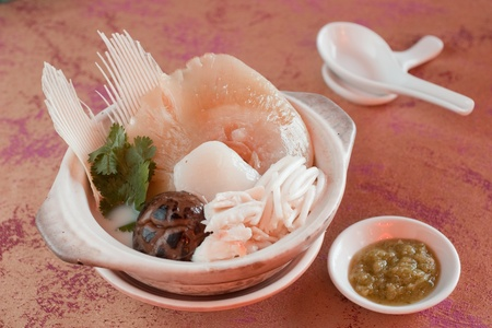 cartilage: Chinese Royal sharks fin soup with fish noodles and mushroom