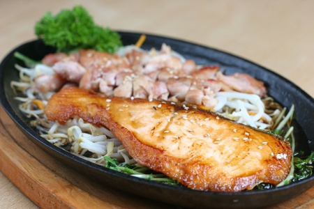 Japanese grilled chicken and fish in terriyaki sauce Stock Photo - 11289860