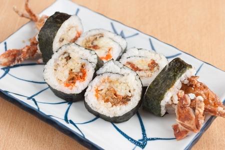 egg roll: Deep fried soft shell crab sushi roll