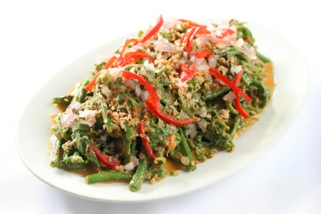 shreds: Nyona sayur paku stir fried young fern shoots with chopped onion and chili