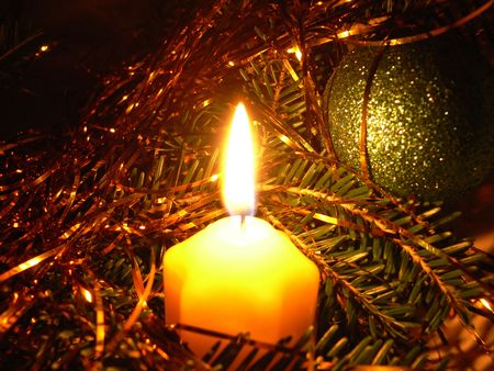 wicks: Christmas decorations in candlelight