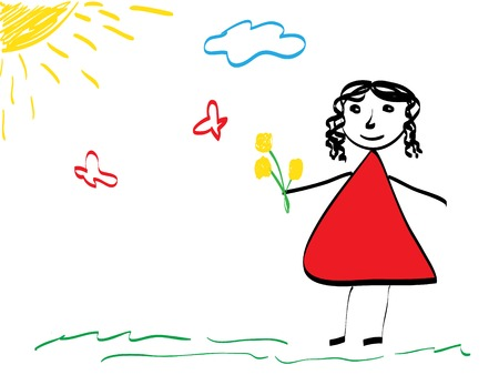 Mothers Day. Kids drawing style  Vector