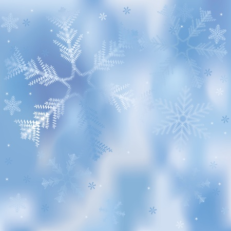 falling star: Winter background with snowflakes Illustration