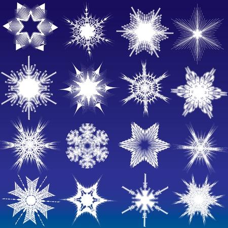 rime: Decorative snowflakes on the dark blue background Illustration