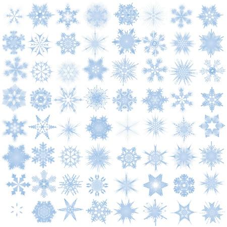 utsirad: Dekorativa snöflingor. Vector illustration