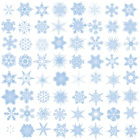flake of snow: Fiocchi di neve decorativi. Vector illustration