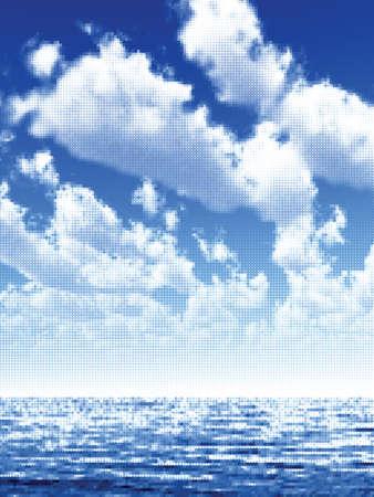 Widok na morze w Å›wietle wczesnego poranka Ilustracja