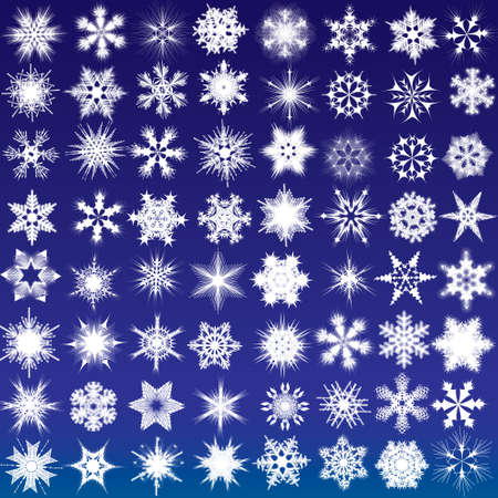 rime: Set of snowflakes. 64 beautiful complex snowflakes Illustration