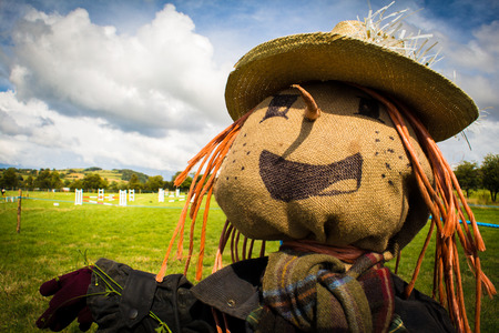 tatty: Head and shoulders landscape view of a scarecrow in a field on a sunny day Stock Photo