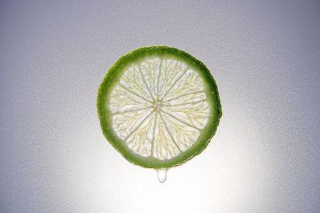 A backlit slice of lime
