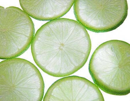 Backlit slices of fresh lime