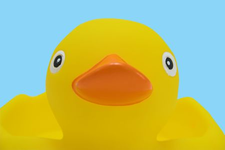 A close up of a rubber duck