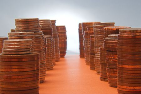 nickle: An avenue of money, with skyscrapers of cash. Stock Photo