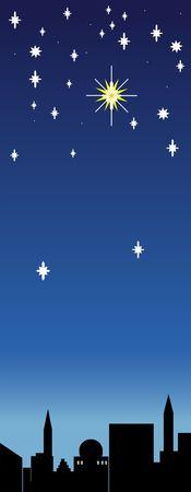 The Christmas star shines over Bethlehem Stock Photo