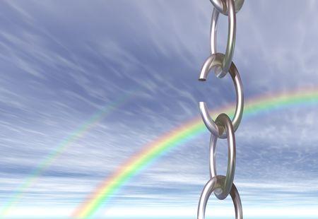 cadena rota: Una cadena con un v�nculo roto, visto contra el cielo con un arco iris  Foto de archivo