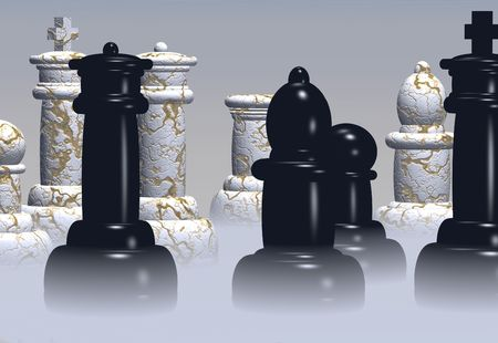 Chess pieces stand ready in a rising mist. photo