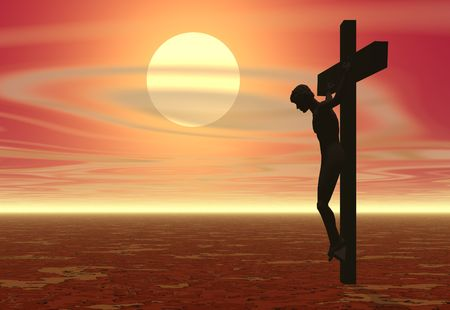 redemption: A crucifixion with a sunset Stock Photo