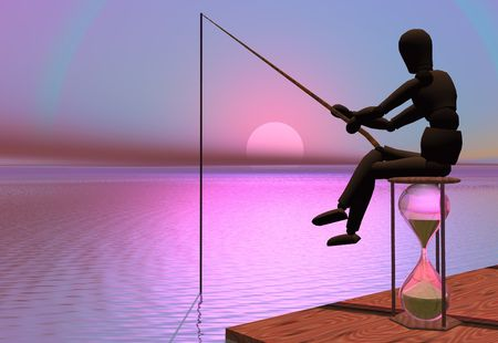 just in time: Sitting fishing, just passing time. Stock Photo
