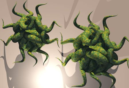 attacking: Attacking virus cells Stock Photo