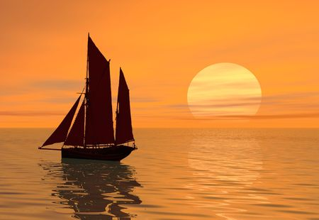 A boat sailing into the sunset Stock Photo