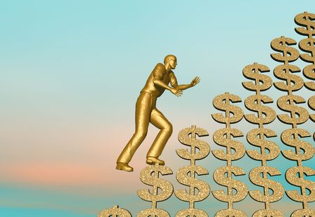 strive: A golden men climbing a mountain of olden dollar signs Stock Photo