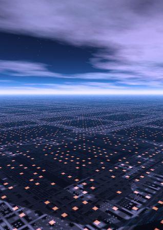 A futuristic city scape