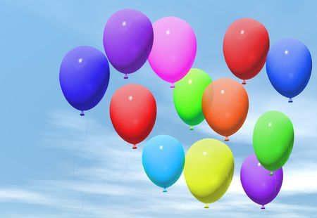 string together: Coloured balloons floating in a blue sky